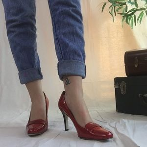 Red Patent Leather Anne Klein Comfort Impact Heels
